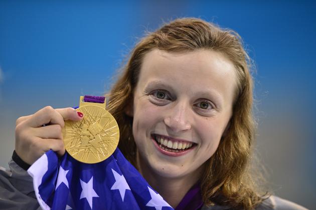 US swimmer Katie Ledecky  poses on the p